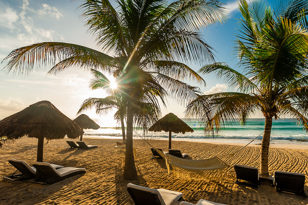 Secluded beach at Le Reve Hotel, Riviera Maya, Quintana Roo, Mexico