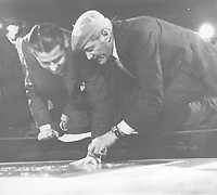 1938 Don Ameche's hand/footprint ceremony at the Chinese Theater