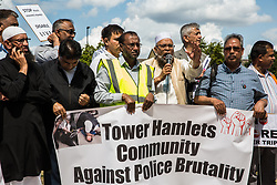 London, UK. 12 July, 2019. Members of the local community in Poplar protest after Friday prayers close to the site where Younis Bentahar, aged 38, was violently arrested by Metropolitan Police officers on 10th July following a 5-stage warning. The incident, during which Mr Bentahar appeared to be having a seizure, has since been referred to the Metropolitan Police's Central East Command Professional Standards Unit after a video of the arrest went viral on social media. Mr Bentahar was filmed being struck with handcuffs and pinned down by police officers after he had stopped on a single yellow line with a disabled badge displayed and ignored the five-stage warning.
