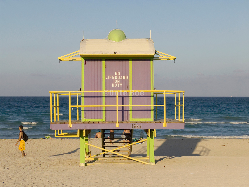 an art deco lifeguard's cabin Miami Beach USA