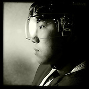 Ice Men Cometh…Chen Jin,19, China..An iPhone portrait series on young men competing in the 2012 IIHF Ice Hockey World Championships Division 3. The tournament  was contested by countries New Zealand, Iceland, China, Bulgaria and Turkey at Dunedin Ice Stadium. Dunedin, Otago, New Zealand. 17th January 2012. Photo Tim Clayton