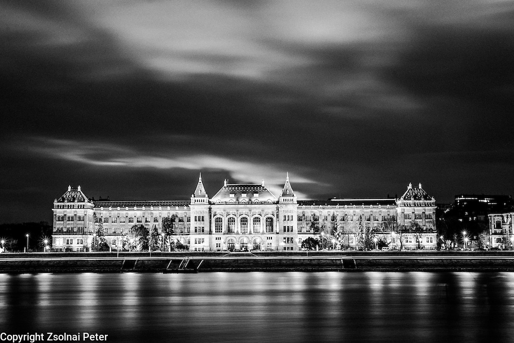 Nightfall on the bank of the Danube, with the building of the University of Technology and Economics