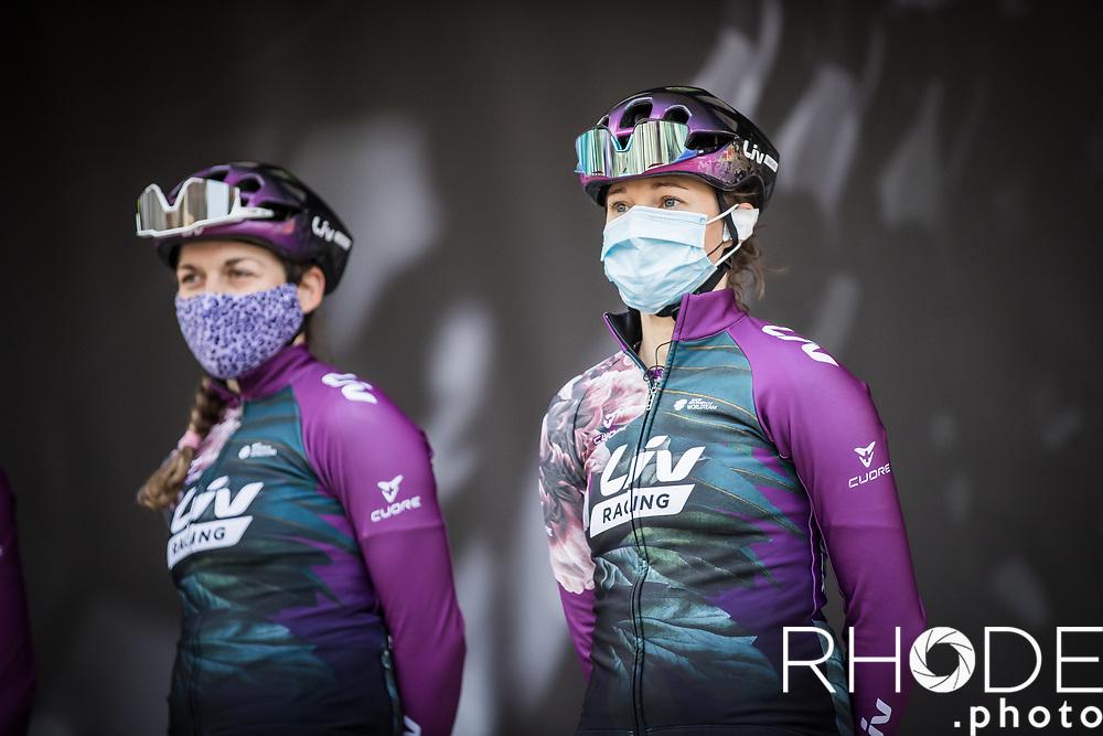 Team Liv Racing awaiting at the pre race team presentation<br /> <br /> 24th la Flèche Wallonne Féminin 2021 (1.UWT)<br /> 1 Day Race: Huy – Huy 130,5km<br /> <br /> ©RhodePhoto