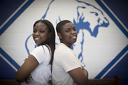 April 27, 2017 - Minneapolis, MN, USA - United States - Identical twins Allie, left, and Alexx Hopkins are valedictorian and salutatorian of their North High School senior class.  Allie Hopkins will go to the University of Minnesota and Alexx will go to St. Cloud.  Here, they both posed for a photo at the school,  Thursday, April 27, 2017 in Minneapolis, MN.     ]  ELIZABETH FLORES • liz.flores@startribune.com (Credit Image: © Elizabeth Flores/Minneapolis Star Tribune via ZUMA Wire)