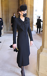 The Duchess of Cambridge arriving at the funeral of the Duke of Edinburgh at Windsor Castle, Berkshire. Picture date: Saturday April 17, 2021.