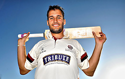 Somerset's Lewis Gregory poses. - Photo mandatory by-line: Harry Trump/JMP - Mobile: 07966 386802 - 27/04/15 - SPORT - CRICKET - LVCC Division One - County Championship - Somerset v Middlesex - Day 2 - The County Ground, Taunton, England.