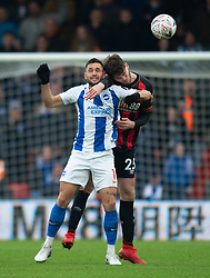 AFC Bournemouth's Jack Simpson and Brighton & Hove Albion's Florin Andone battle for the ball