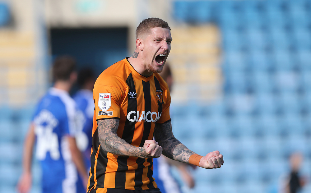 Hull City's Jordy de Wijs celebrates after his side had scored their second goal<br /> <br /> Photographer Rob Newell/CameraSport<br /> <br /> The EFL Sky Bet League One - Gillingham v Hull City - Saturday September 12th 2020 - Priestfield Stadium - Gillingham<br /> <br /> World Copyright © 2020 CameraSport. All rights reserved. 43 Linden Ave. Countesthorpe. Leicester. England. LE8 5PG - Tel: +44 (0) 116 277 4147 - admin@camerasport.com - www.camerasport.com