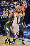 April 4, 2016; Indianapolis, Ind.; Kiki Robertson and Adriana Dent trap Nicole Hampton in the back court  in the NCAA Division II Women's Basketball National Championship game at Bankers Life Fieldhouse between UAA and Lubbock Christian. The Seawolves lost to the Lady Chaps 78-73.