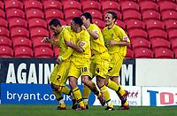 Photo: Alan Crowhurst.<br />Swindon Town v Bury FC. Coca Cola League 2. 25/11/2006. Bury's Paul Scott (L) celebrates his goal with teamates 0-1.