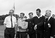 Mr Cyril Kemp, Sports Sales Manager, Irish Dunlop Ltd.; J. Craddock, Foxrock; Mr Barry Browne, Honorary Secretary, I.P.G.A.; H.F. Boyle, (John Jacobs Golf Centre) and Captain M.J. Maguire, Committee Member, Tramore Golf Club at the Irish Dunlop £1,000 Tournament at Tramore Golf Club, Co. Waterford on the 19th August 1967.