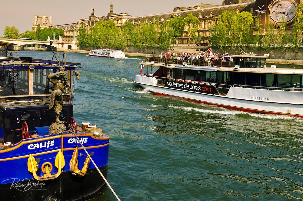 Tour boats on the Seine River, Paris, France
