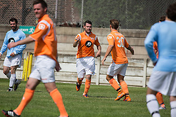 © Licensed to London News Pictures . 02/08/2015 . Droylsden Football Club , Manchester , UK . Actor DANNY MILLER celebrates after scoring . Celebrity football match in aid of Once Upon a Smile and Debra , featuring teams of soap stars . Photo credit : Joel Goodman/LNP