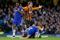 Nikica Jelavic of Hull City appeals to the referee - Photo mandatory by-line: Rogan Thomson/JMP - 07966 386802 - 13/12/2014 - SPORT - FOOTBALL - London, England - Stamford Bridge - Chelsea v Hull City - Barclays Premier League.