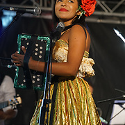 London, UK. 4th August 2017. Wendy Paola Corzo Carmona perform at the Plaza Latina Festival. A Latin summer festival party with live music, delicious food & drinks. The vibrant of Latin culture and colourful at Nursery Row Park, East Street.