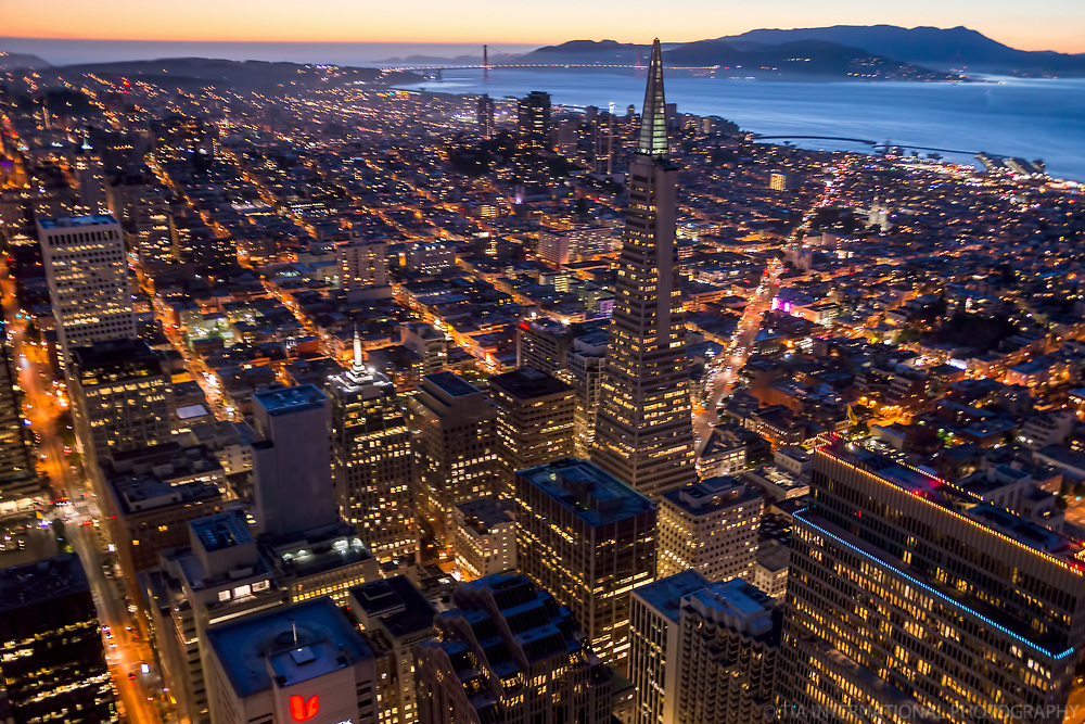 Transamerica Pyramid & San Francisco Bay, Twilight