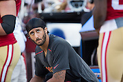 San Francisco 49ers quarterback Colin Kaepernick (7) watches from the sideline during a preseason game against the Houston Texans at Levi's Stadium in Santa Clara, Calif., on August 14, 2016. (Stan Olszewski/Special to S.F. Examiner)