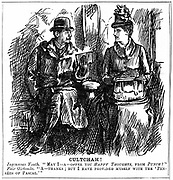 Benefits of university education for women. George du Maurier cartoon from 'Punch' London  8 December 1887. Young man in railway carriage offers graduate of Girton, Cambridge, some light reading for the journey.  She gracefully declines as she has equipped herself with Pascal's 'Pensees'. Engraving