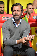 Quique Sanchez Flores, the Watford manager looking on before k/o. Barclays Premier League, Watford v Southampton at Vicarage Road in London on Sunday 23rd August 2015.<br /> pic by John Patrick Fletcher, Andrew Orchard sports photography.