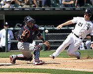 CHICAGO - MAY 25:  Yan Gomes #10 of the Cleveland Indians cannot catch the ball as Todd Frazier #21 of the Chicago White Sox scores in the sixth inning on May 25, 2016 at U.S. Cellular Field in Chicago, Illinois.  The Indians defeated the White Sox 4-3.  (Photo by Ron Vesely)    Subject:  Yan Gomes; Todd Frazier
