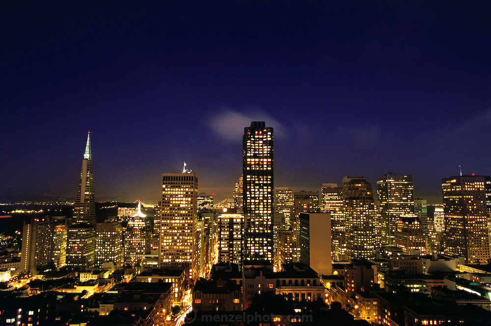 San Francisco, California skyline looking East from Mark Hopkins Hotel. Transamerica pyramid building is on the left.