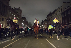 Whitehall, London, January 30th 2017. Tens of thousands protest outside the gates of Downing Street against an invitation by HM the Queen to US President Donald Trump for a State Visit, a date for which has still to be set. The protests come following Trump's executive Order for the temporary ban on Muslims and refugees from seven countries from entering the United States. A petition  against the visit started following the ban has gathered well over a million signatures.