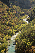High angle view on winding river in canyon in Gorges du Verdon, France