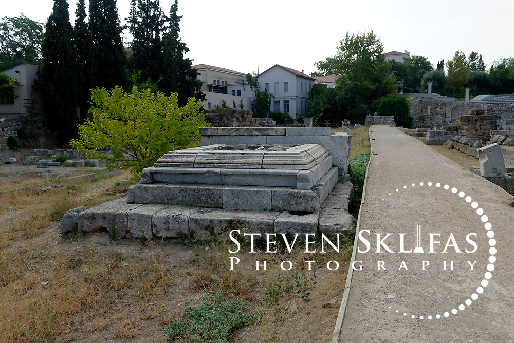 Roman statue base erected in front of a Hellenistic period outer gateway. Kerameikos. Athens. Greece.