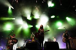 "© Licensed to London News Pictures. 16/07/2013. London, UK.   Of Monsters and Men performing live at Somerset House. Of Monsters and Men is a six-piece, English-language, indie folk/pop band from Iceland consisting of lead singer/guitarist Nanna Bryndís Hilmarsdóttir, co-singer/guitarist Ragnar ""Raggi"" Þórhallsson, guitarist Brynjar Leifsson, drummer Arnar Rósenkranz Hilmarsson and bassist Kristján Páll Kristjánsson.  Photo credit : Richard Isaac/LNP"