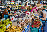 Editorial: Buak Had Market, Phra Sing, Mueang Chiang Mai District, Chiang Mai 50200, 8/24/15 Shoppers at the market about 10am. Toruists and locals. (From Raw file to JPEG)