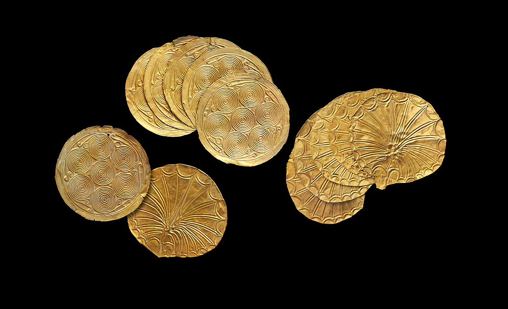 Mycenaean Gold circular buttons from Grave IV, Grave Circle A, Myenae, Greece. National Archaeological Museum Athens. 16th Cent BC. Black Background .<br /> <br /> If you prefer to buy from our ALAMY PHOTO LIBRARY  Collection visit : https://www.alamy.com/portfolio/paul-williams-funkystock/mycenaean-art-artefacts.html . Type -   Athens    - into the LOWER SEARCH WITHIN GALLERY box. Refine search by adding background colour, place, museum etc<br /> <br /> Visit our MYCENAEN ART PHOTO COLLECTIONS for more photos to download  as wall art prints https://funkystock.photoshelter.com/gallery-collection/Pictures-Images-of-Ancient-Mycenaean-Art-Artefacts-Archaeology-Sites/C0000xRC5WLQcbhQ