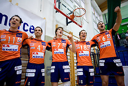 Phillip Eatherton, Nicholas Cundy, Matevz Kamnik, Rok Satler and Mitja Gasparini at last final volleyball match of 1.DOL Radenska Classic between OK ACH Volley and Salonit Anhovo, on April 21, 2009, in Arena SGS Radovljica, Slovenia. ACH Volley won the match 3:0 and became Slovenian Champion. (Photo by Vid Ponikvar / Sportida)