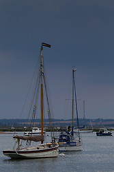 The soft evening light illuminates boats moored at West Mersea, Mersea Island, near Colchester in Essex. West Mersea, Essex, July 11 2019.