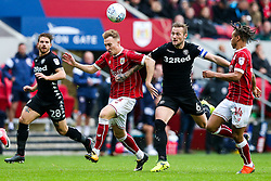 Cauley Woodrow of Bristol City is challenged by Liam Cooper of Leeds United - Rogan/JMP - 21/10/2017 - Ashton Gate Stadium - Bristol, England - Bristol City v Leeds United - Sky Bet Championship.