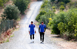 Adam Smith and Sam Slocombe of Bristol Rovers walk to training on their first day in Portugal - Mandatory by-line: Robbie Stephenson/JMP - 18/07/2017 - FOOTBALL - Colina Verde Golf & Sports Resort - Moncarapacho, England - Sky Bet League One
