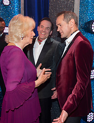 Embargoed to 0001 Tuesday November 13 The Duchess of Cornwall talks to Armstrong and Miller after the We Are Most Amused and Amazed performance at the London Palladium.