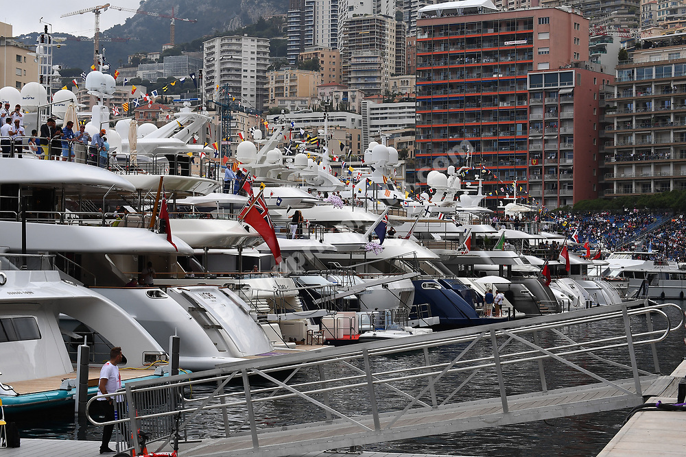 Yachts / boats during practice before the 2019 Monaco Grand Prix. Photo: Grand Prix Photo