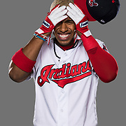 GOODYEAR, AZ - FEBRUARY 21: Infielder Francisco Lindor (12) poses for a photo during the Cleveland Indians photo day on Wednesday, Feb. 21, 2018 at Goodyear Ballpark in Goodyear, Ariz. (Photo by Ric Tapia/Icon Sportswire)