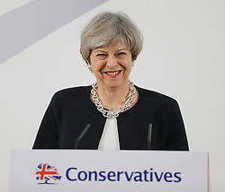 © Licensed to London News Pictures. 06/04/2017. Calverton UK. Prime Minister THERESA MAY speaking at a press conference to launch the Conservative Party's Local Election campaign this morning at Calverton Village hall in Nottinghamshire. Photo credit: Andrew McCaren/LNP