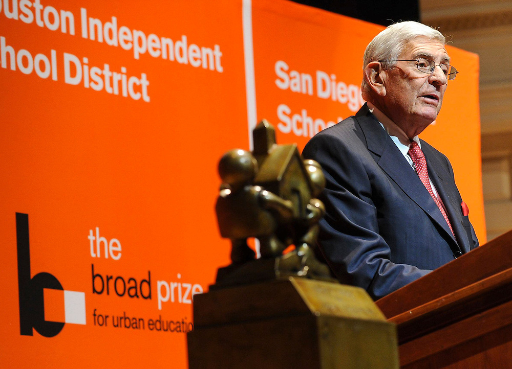 Philanthropist Eli Broad speaks at the 2013 Broad Prize for Urban Education, Wednesday, Sept. 25, 2013, at the Library of Congress in Washington, D.C.  Since 2002, The Broad Foundation has awarded more than $15 million in Broad Prize college scholarships for high school seniors. (Photo by Diane Bondareff/Invision for The Broad Foundation/AP Images)