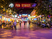 03 JUNE 2016 - SIEM REAP, CAMBODIA: Pub Street is the center of tourist district in Siem Reap, Cambodia. It's lined with restaurants, bars and backpacker hangouts.      PHOTO BY JACK KURTZ