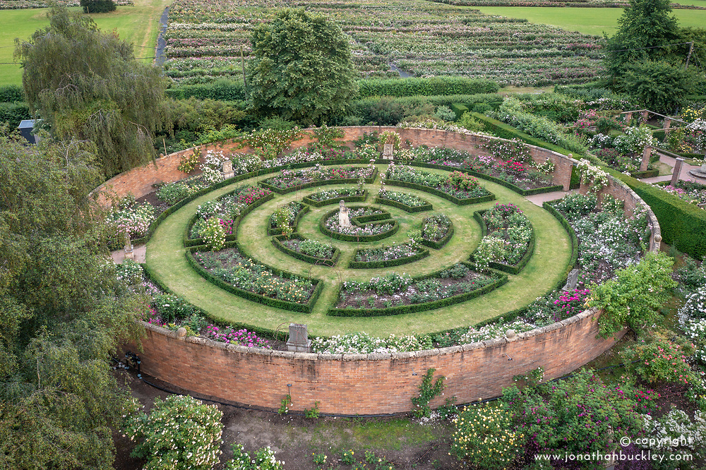 Aerial view of The Victorian Garden at The David Austin Rose Gardens