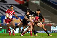 Rugby League - 2020 Betfair Super League - Semi-final - St Helens vs Catalan Dragons - TW Stadium<br /> <br /> St. Helens's Jonny Lomax is tackled <br /> <br /> COLORSPORT/TERRY DONNELLY