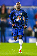 Chelsea defender Ngolo Kante (7) warms up before the The FA Cup match between Chelsea and Manchester United at Stamford Bridge, London, England on 18 February 2019.