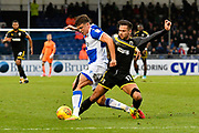 Tom Broadbent (16) of Bristol Rovers battles for possession with Harry Forrester (11) of AFC Wimbledon during the EFL Sky Bet League 1 match between Bristol Rovers and AFC Wimbledon at the Memorial Stadium, Bristol, England on 18 November 2017. Photo by Graham Hunt.