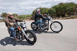 Eric Stein on his 1964 custom Harley-Davidson Panhead and Bo Hatzoge on a custom 1974 Shovelhead Eric also built as they ride their customs south of Flagler Beach on AIA during Daytona Beach Bike Week. FL. USA. Tuesday, March 14, 2017. Photography ©2017 Michael Lichter.