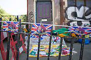 Royal wedding memorabilia for sale along Coldharbour Lane in Brixton on 19th May 2018 in South London in the United Kingdom. Located in South London on the day Prince Harry and Meghan Markle get married in Windsor Castle.
