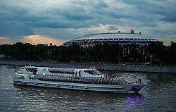 June 11, 2018 - Moscou, Rússia - MOSCOU, MO - 11.06.2018: GENERAL PICTURES MOSCOW 2018 - View of the surroundings of the stadium Luzhniki Stadium, formerly the Central Stadium Lenin, which was all renovated and will host the opening of the 2018 World Cup Russia on Thursday, and the grand finale in Moscow, Russia. In the photo the Moscow River in front of a subway station. (Credit Image: © Marcelo Machado De Melo/Fotoarena via ZUMA Press)