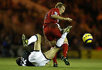 The FA Barclays Premiership<br />1 January 2005, The Riverside, Stadium, Middlesbrough<br />Middlesbrough v Manchester United<br />Manchester United's Roy Keane is fouled by Middlesbrough's Ray Parlour<br />Pic Jason Cairnduff/Back Page Images