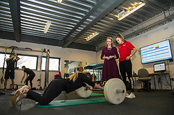 Pictured: Shirley-Anne Somerville met Katie Frew (18 and doing exercise) and Aimee Dilworth (17) on her tour<br /> <br /> Further and Higher Education Minister Shirley-Anne Somerville visited Edinburgh College's Granton campus to view the sport facilities and to announce a new GBP465,000 investment fund for the student sport sector.<br /> <br /> Ger Harley | EEm 8 February 2018